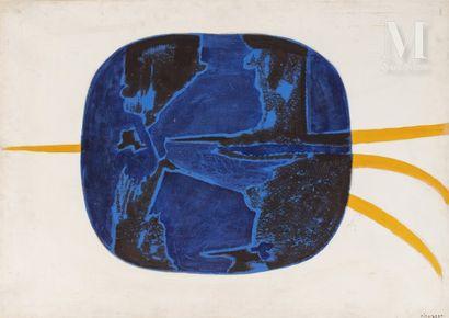 Jean PIAUBERT ( 1900-2002) Monde bleu, 1950  Huile sur papier, marouflé sur toile,...