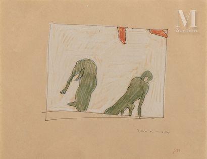 Katsushiko HIBINO (né en 1958) Deux chiens, 1994  Crayon sur papier signé et daté...