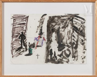 Stéphane PANCREAC'H (né en 1970) Sans titre, 1991  Acrylique et crayon sur papier...