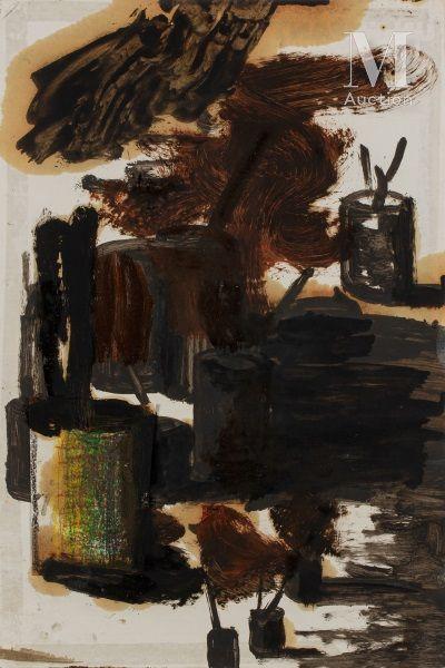 Stéphane PANCREAC'H (né en 1970) Sans titre, 1994  Huile et collage sur papier  60...