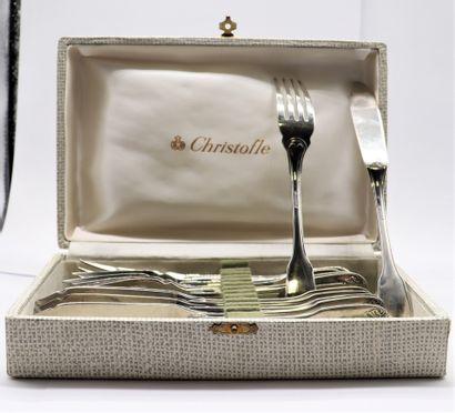 CHRISTOFLE  Service en métal argenté comprenant...