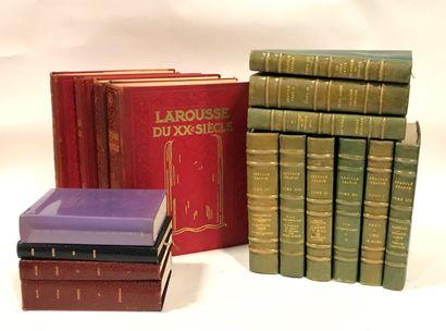 Ensemble de livres du XXème siècle, reliure cuir dont :