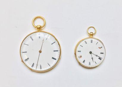 Deux montres de poche plates en or jaune 18k (750 millièmes)