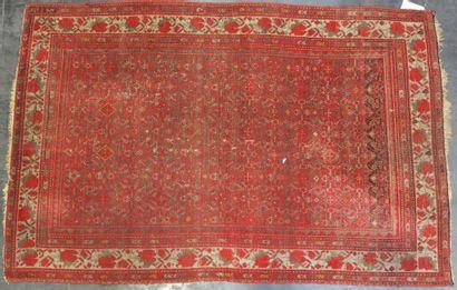 SENNEH  Tapis à fond rouge.  188 x 125 cm...
