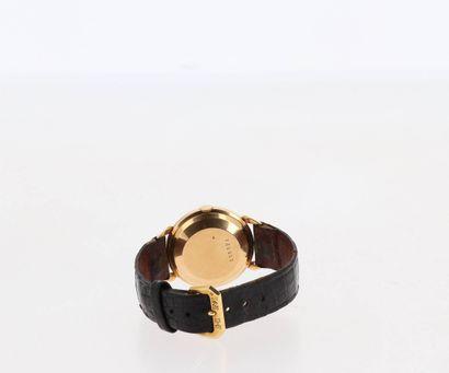 JAEGER-LECOULTRE Montre pour homme en or 18K (750 millièmes) sur bracelet cuir et...
