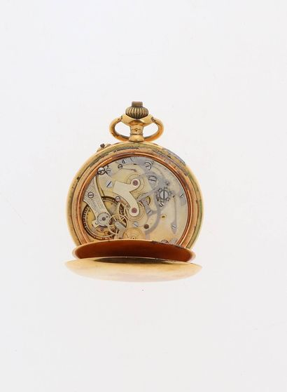 TRAVAIL SUISSE Vers 1910  Chronographe  Boitier plaqué or  Mouvement mécanique à...