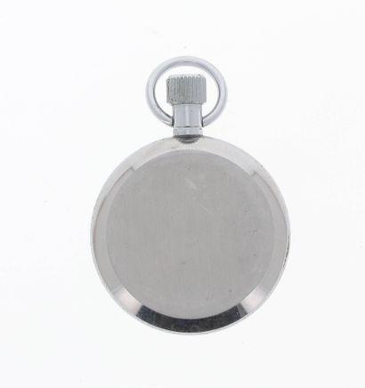 JAEGER Vers 1960  Chronographe de poche en metal.  Cadran blanc. Aiguilles acier...