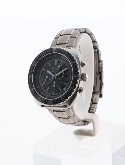 ZENITH Sub-Sea El Primero  Vers 1970  Montre chronographe en acier, cadran noir index...