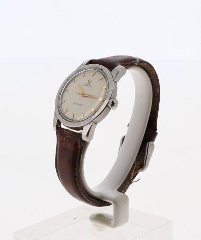 OMEGA Seamaster Montre pour homme des années 50 en acier sur bracelet cuir avec boucle...