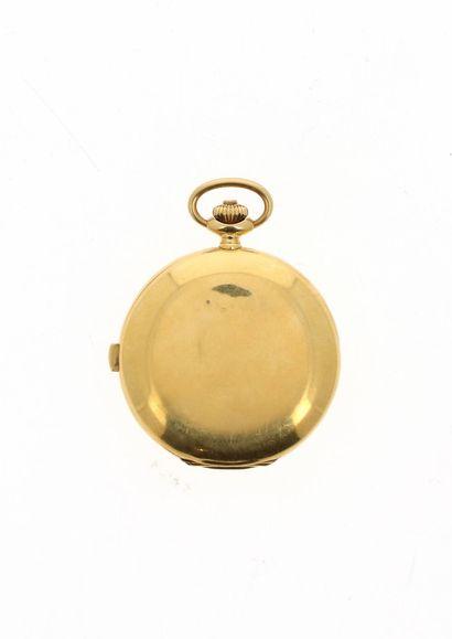 LONGINES Très beau chronographe de poche du début du XXème, dite savonnette en or...