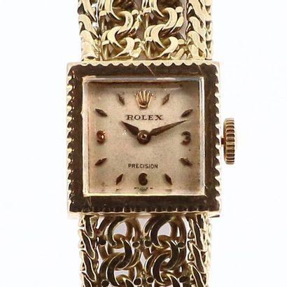 ROLEX Precision Montre de dame carrée en or jaune 18k (750 millièmes) sur bracelet...