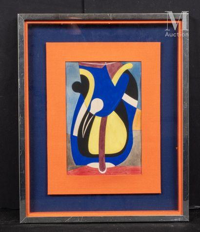 Auguste HERBIN (Quievy 1882 - Paris 1960) Composition  Gouache sur papier  25 x 16.5...