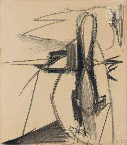 Hans HARTUNG (1904-1989) Composition, 1939  Crayon et pastel sur papier signé et...