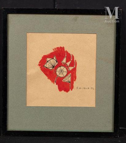 Ecole Française du XX ème siècle Etude de fleurs, 1932  Gouache et encre noire  21...