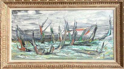 PERESS Marine  Huile sur toile  100 x 50 cm  Signé en bas à droite