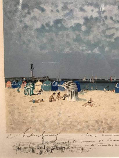 André HAMBOURG (1909 - 1999) Plage de Trouville  Lithographie en couleurs  Epreuve...