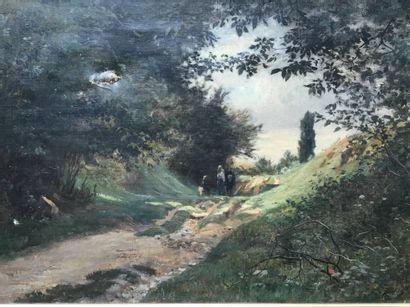 Charles Joseph BEAUVERIE (1839-1924) Boeufs sur un chemin arboré 1877  Huile sur...