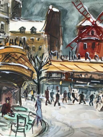 Roland DUBUC (1924-1998) Moulin rouge  Aquarelle  50 x 64 cm  Signé en bas à droite...