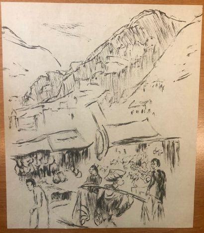 Lou ALBERT-LASARD (Metz 1885-Paris 1969) Aux confins de la Chine  Lot de 36 lithographies...