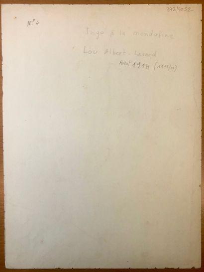 Lou ALBERT-LASARD (Metz 1885-Paris 1969) Ingo à la mandoline  Aquarelle  33,8 x 25,3...