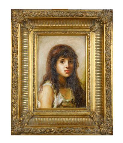 F. WALTER  Portrait de jeune fille  Huile...