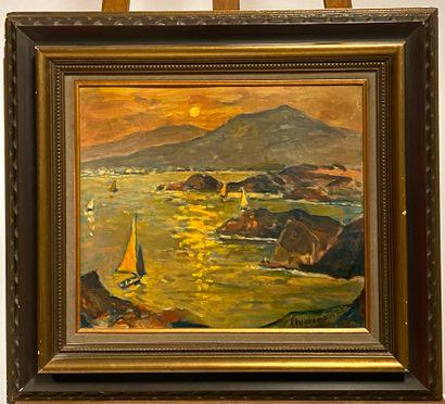 Robert FLEURENT (1904-1981)  Coucher de soleil...