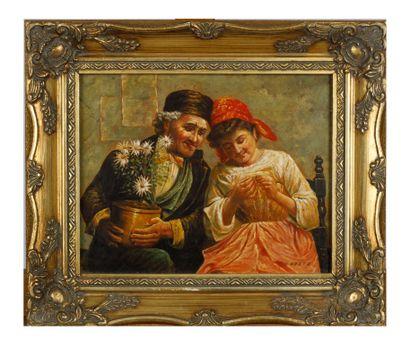 D. GOETZ  Couple au pot de fleur  Huile sur...