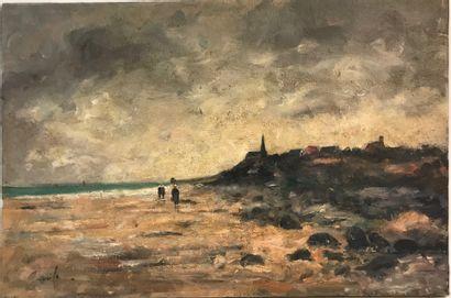 Alfred CASILE (1848-1909)  Paysage de Bretagne...