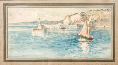 Ecole française début XXème  Entrée du Port...