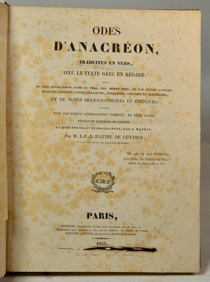 ANACREON. Odes d'Anacréon, traduites en vers, avec le texte grec en regard suivies...
