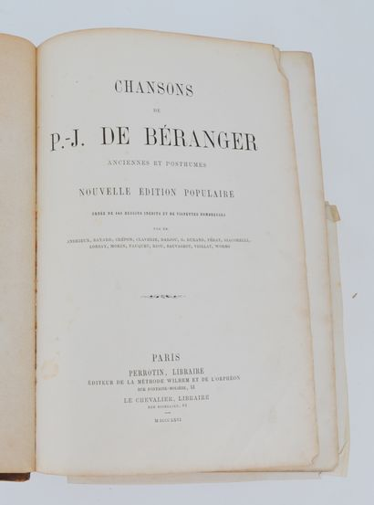 BÉRANGER (Pierre Jean de). Chansons anciennes...