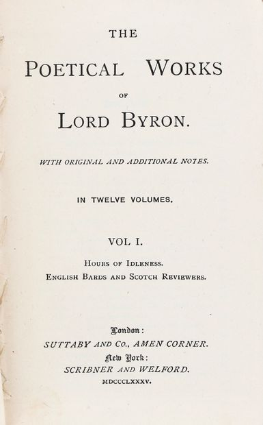 BYRON (George GORDON Lord). The poetical works. London, Suttaby and Co, New York,...