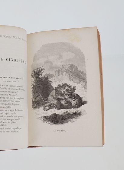 FLORIAN Fables de Florian. Paris, Bernardin-Béchet, 1870. In-8 demi-chagrin rouge,...