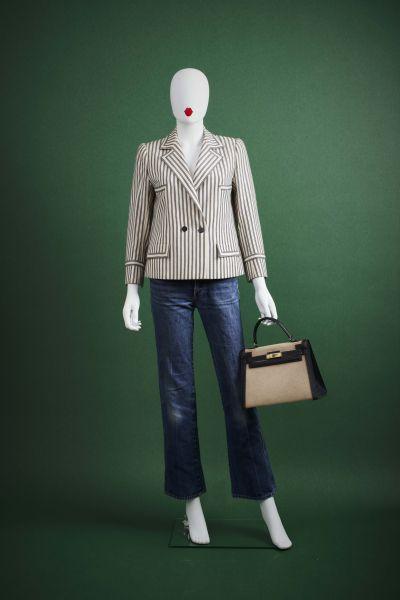 CARVEN HAUTE-COUTURE - 1970/80's Tailleur  en lainage rayé noir et blanc : VESTE...