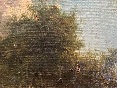 ECOLE FRANCAISE Ferme  Huile sur toile  24 x 32 cm  Petits manques et restaurati...