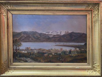 Ecole Française du XIXème Ville au bord de rivière  Huile sur toile  34 x 53 cm  Piqûres...