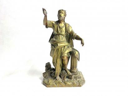 Philosophe  Bronze à patine doré représentant...