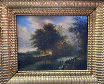 ECOLE FRANCAISE Rivière  Huile sur toile  32 x 40 cm