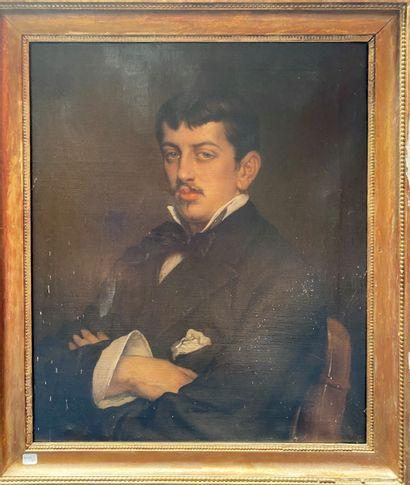 Ecole française de la fin du XIXème Portrait d'homme aux bras croisés  Huile sur...