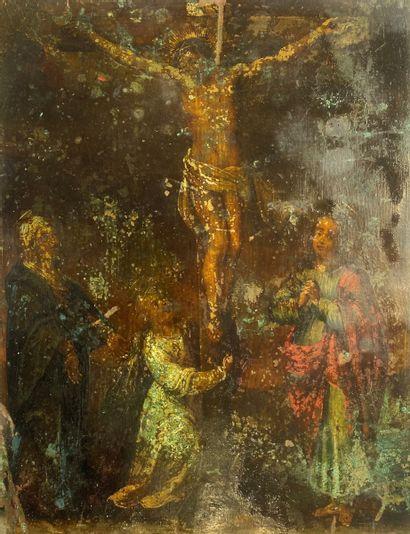 Crucifixion Plaque en cuivre  30,5 x 23, 5 cm