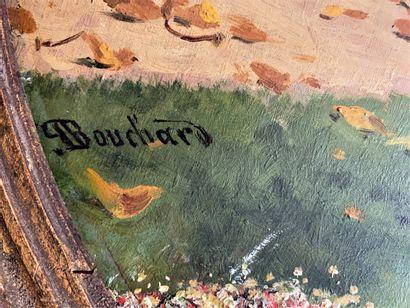 Paul Louis BOUCHARD (1853-1937) Jardin à Versailles  Huile sur toile ovale  Signé...