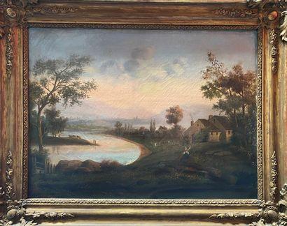 ECOLE FRANCAISE Rivages de rivière  Deux huiles sur toiles  48 x 65 cm  Signature...
