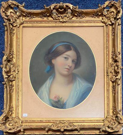 Dans le goût du XVIIIe siècle Les jeunes filles  Deux pastels ovales  45 x 36 cm...