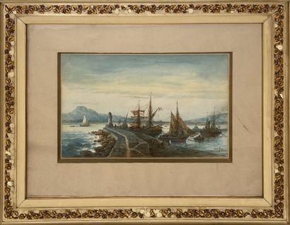 Émile HENRY (1842-1920) Le port de Saint-Raphaël, vue de Fréjus  Aquarelle  29 x...