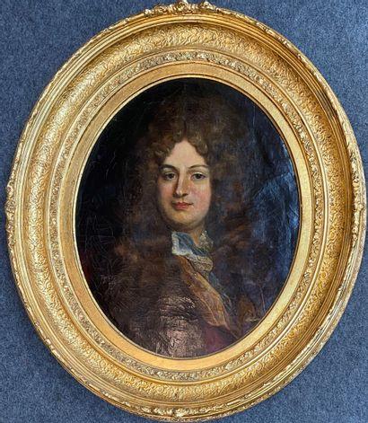 Ecole FRANCAISE du XIXème siècle, dans le goût de Hyacinthe RIGAUD Portrait d'homme...