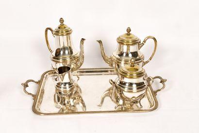 Service à thé et café en métal argenté comprenant...