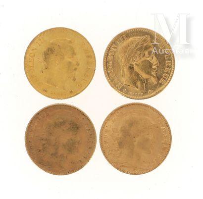 Quatre pièces 10 FF or Quatre pièces en or de 10 FF :  - 1 x 10 FF Napoléon III tête...