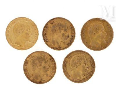 Cinq pièces 20 FF or