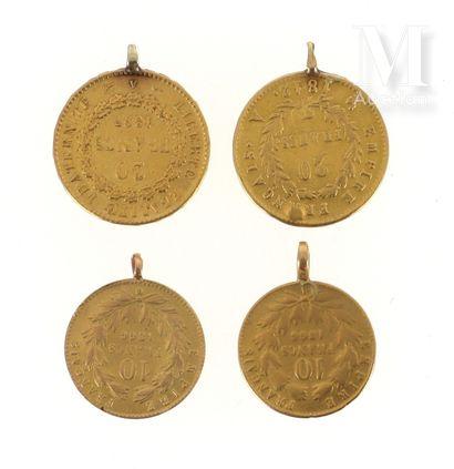 Quatre pièces en or Quatre pièces en or avec bélières accidentées :  - 1 x 20 FF...