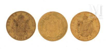 Trois pièces 50 FF or Trois pièces en or de 50 FF Napoléon III tête nue  1855 A,...